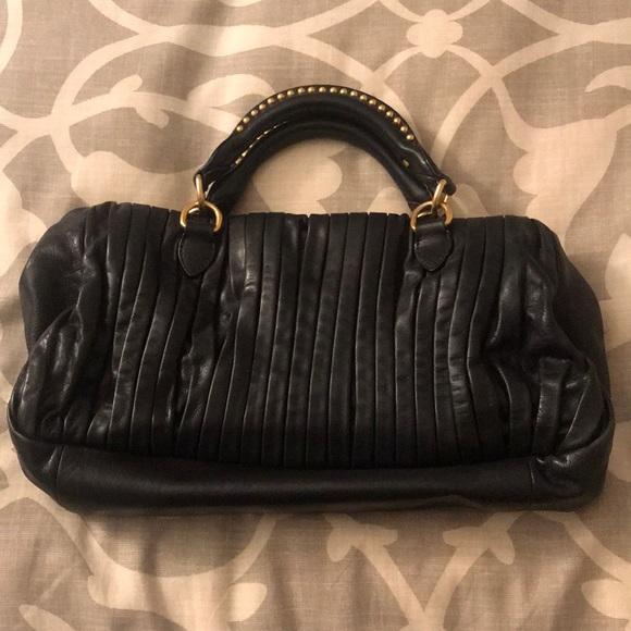 Miu Miu Bags   Plisse Black Leather Tote   Poshmark 815509e25f